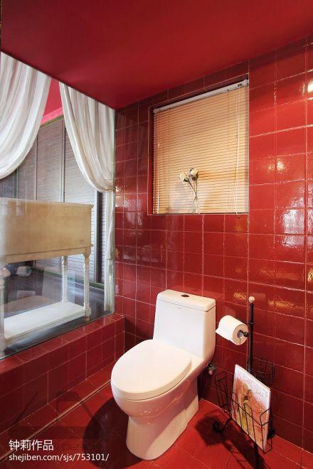 精美76平米二居卫生间混搭装修设计效果图片