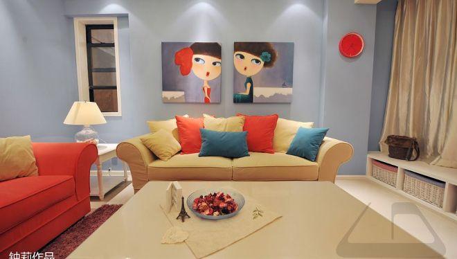 201877平二居客厅混搭装修设计效果图片大全