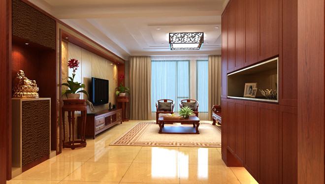 新中式锦茂客厅电视墙装修效果图