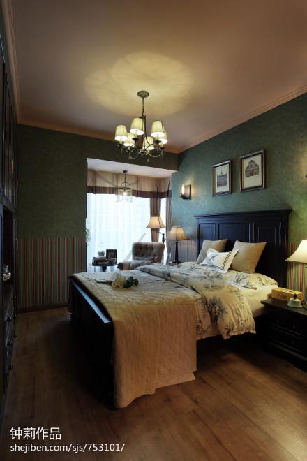 热门面积104平美式三居卧室装修图