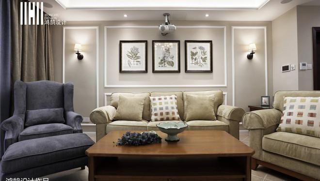 精选面积117平美式四居客厅实景图