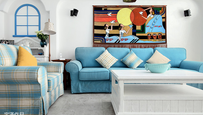 2018精选面积98平地中海三居客厅装修设计效果图