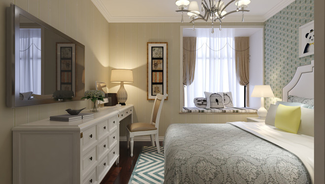 热门105平米三居卧室简欧装修设计效果图